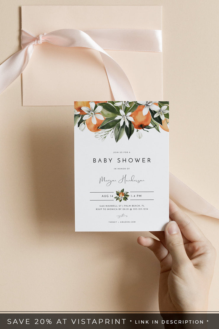 Calliope - Citrus Orange Blossom Baby Shower Invitation Template - Unmeasured Events