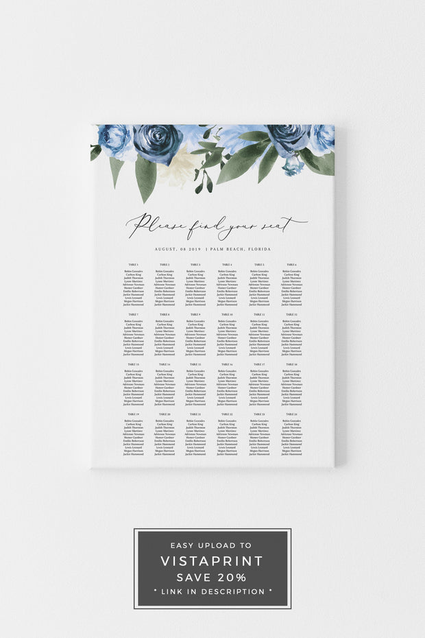 Milena - Dusty Blue Floral Wedding Seating Chart Template Printable - Unmeasured Events