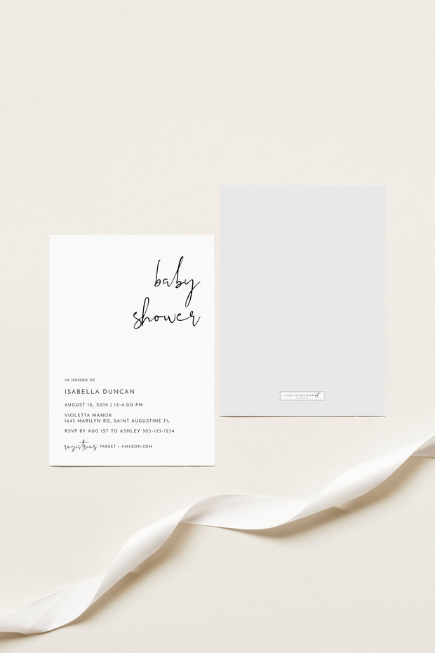Adella -  Modern Minimalist Baby Shower Invitation Template Suite - Unmeasured Events