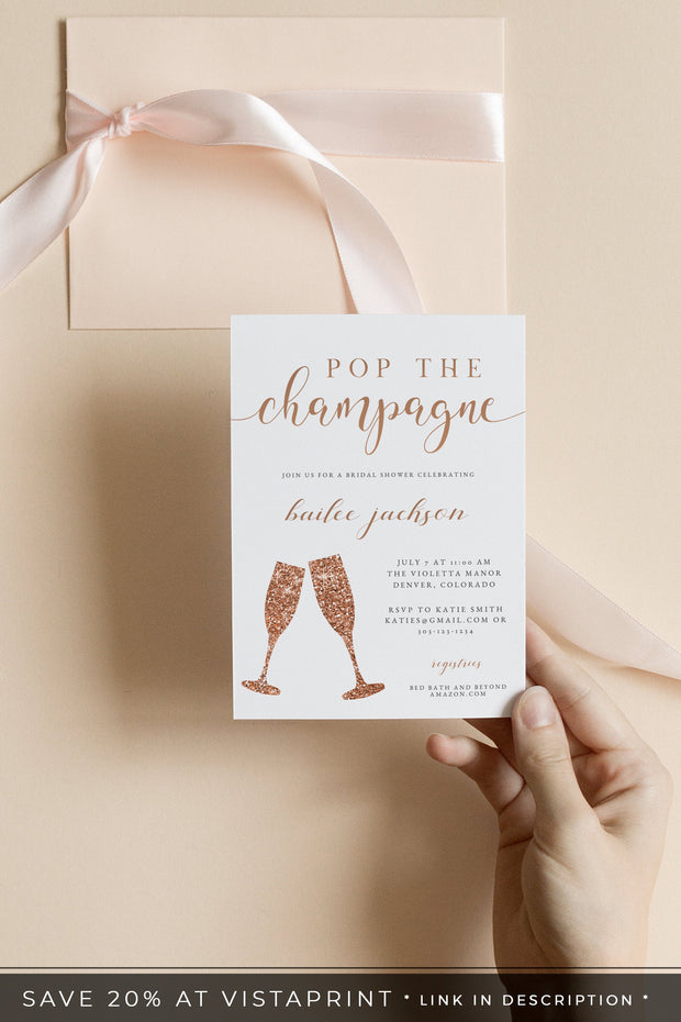 Rose Gold Pop the Champagne Bridal Shower Invitation Template - Unmeasured Events