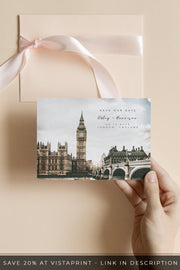 Adley - Watercolor London Wedding Save the Date Template