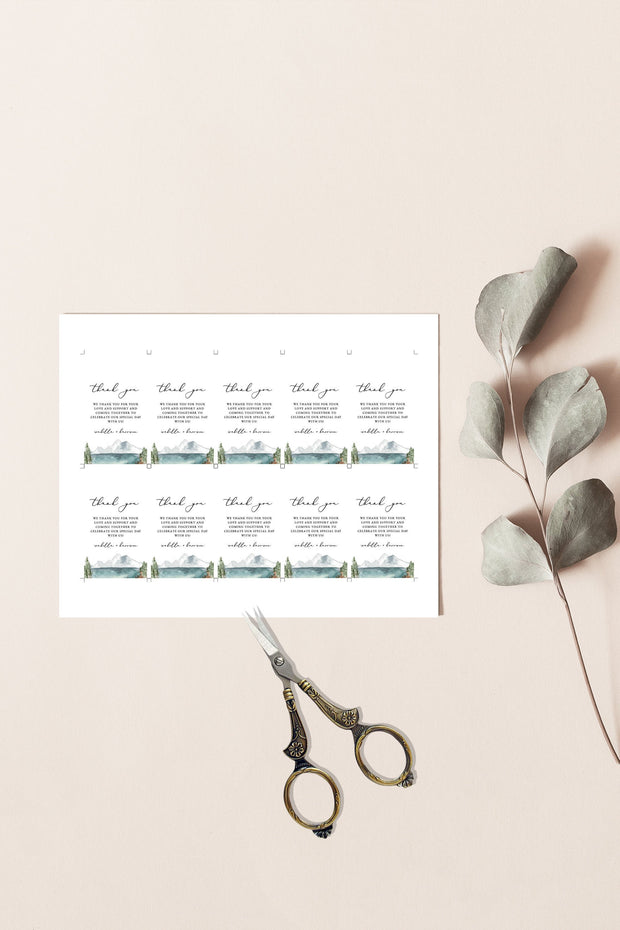 Clover - Mountain Lake Favor Tag Template - Unmeasured Events