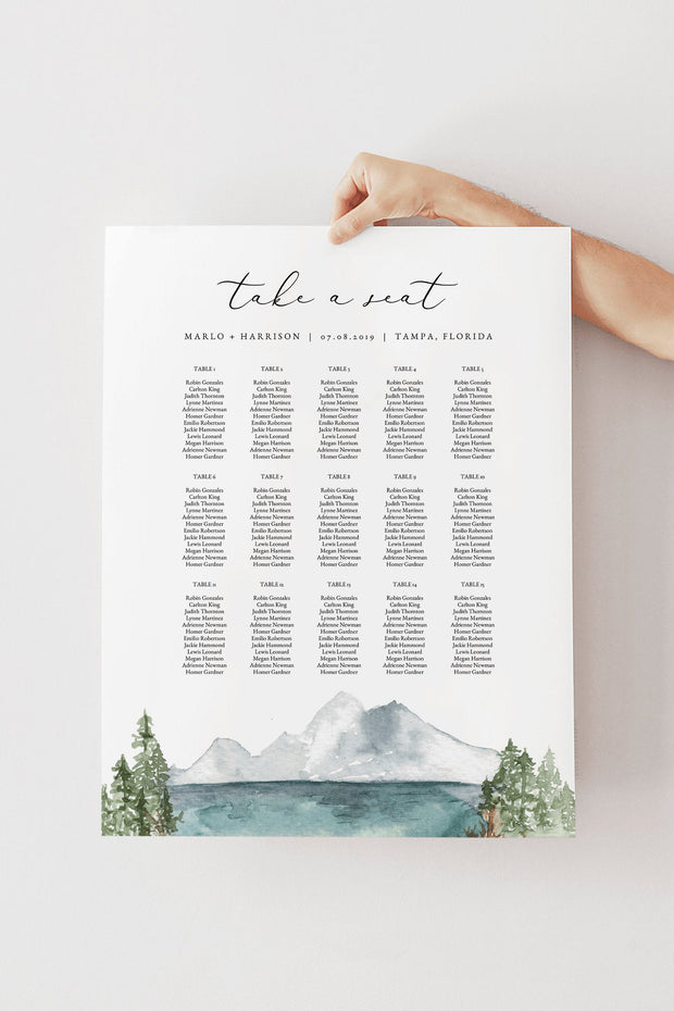 Clover - Mountain Lake Wedding Table Seating Chart Template - Unmeasured Events