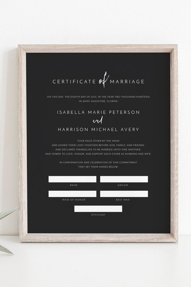 Priya - Black Contemporary Marriage Certificate Template - Unmeasured Events