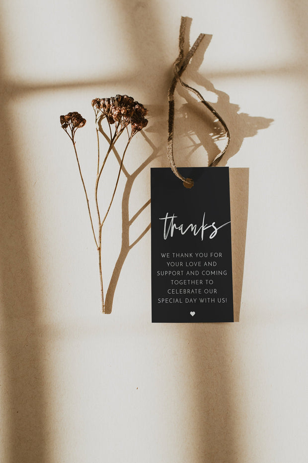 Priya - Black Contemporary Wedding Favor Tag Template