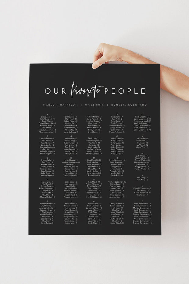 Priya - Black Contemporary Wedding Seating Chart Template - Unmeasured Events