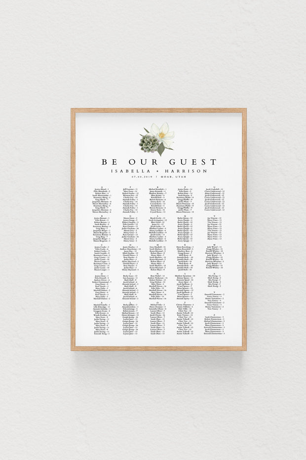 Cara - White Magnolia and Succulent Alphabetical Wedding Seating Chart Template - Unmeasured Events