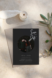 Priya - Black Contemporary Wedding Photo Save the Date Template Instant Download