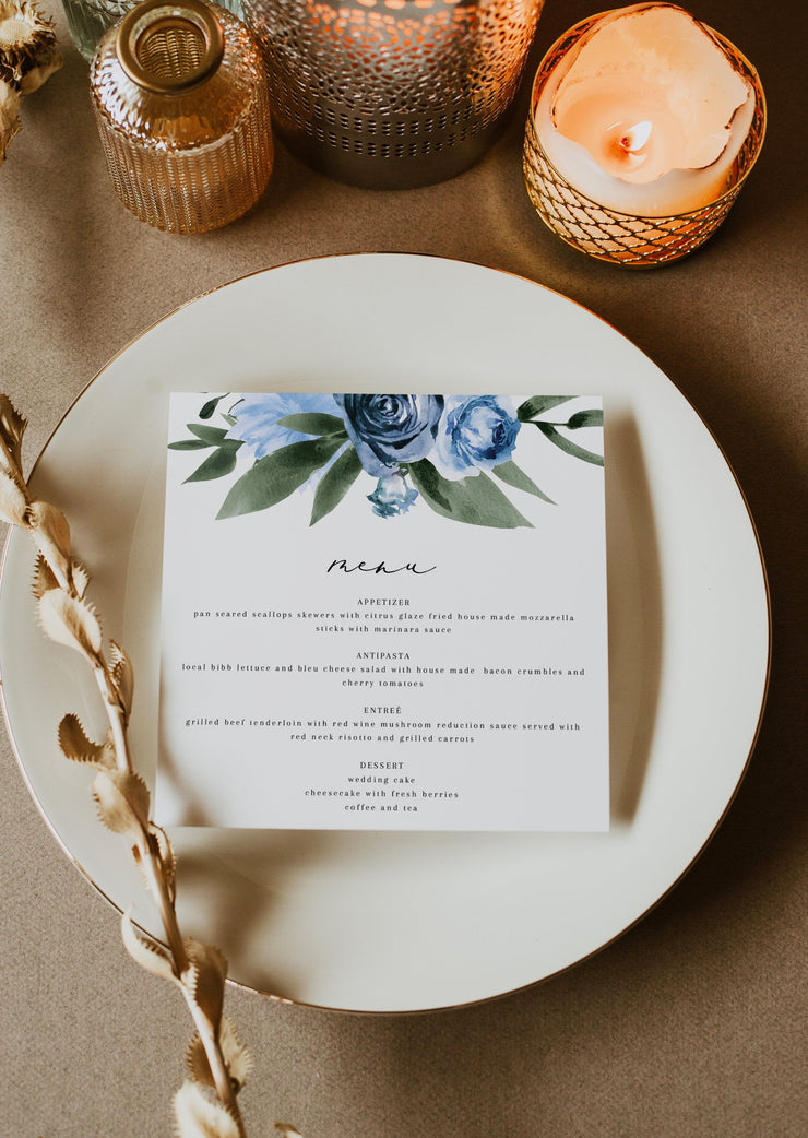Milena - Dusty Blue Floral Square Wedding Menu Template Printable - Unmeasured Events