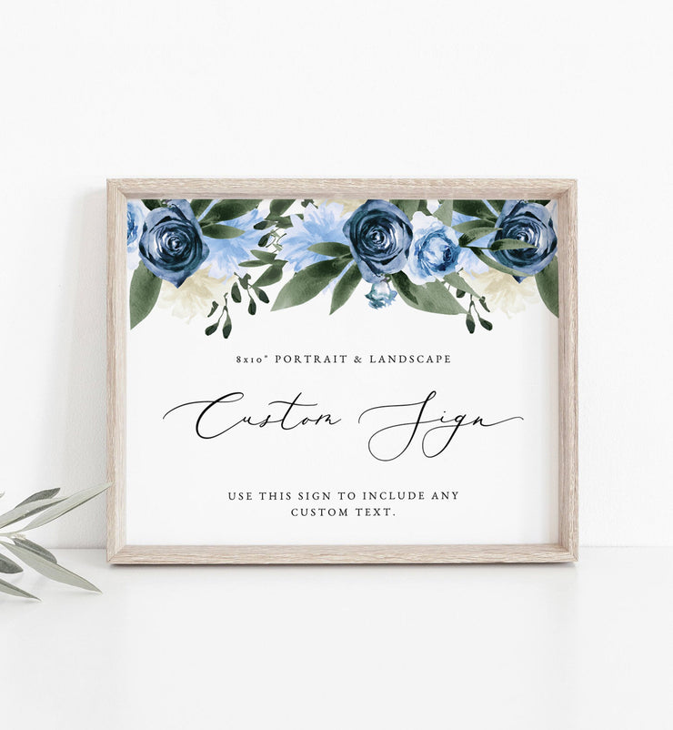 "Milena - Dusty Blue Floral Wedding Custom 8x10"" Sign Template Printable - Unmeasured Events"