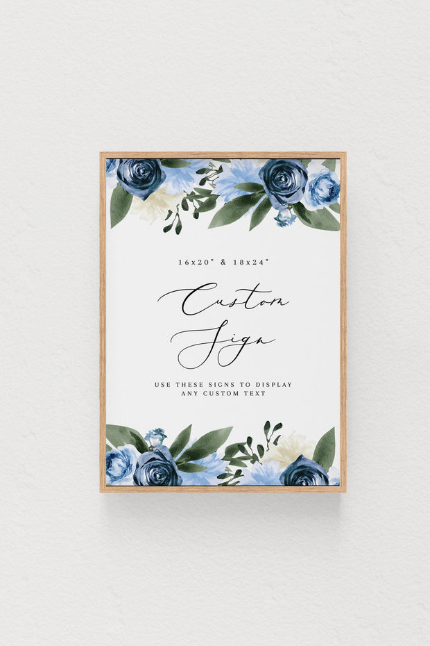 Milena - Dusty Blue Floral Wedding Custom Sign Template Printable - Unmeasured Events