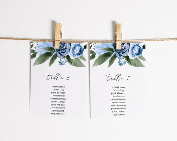 Milena - Dusty Blue Floral Wedding Seating Chart Card Template Printable - Unmeasured Events