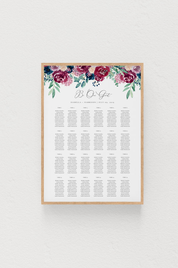 Bella - Marsala Floral Wedding Seating Chart Template - Unmeasured Events
