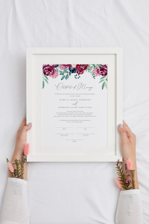 Bella - Marsala Floral Wedding Marriage Certificate Template