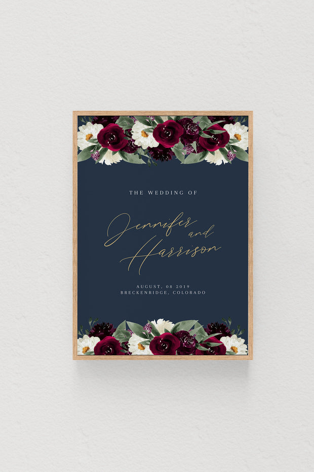 Rosa - Bordeaux Floral Wedding Welcome Sign Template - Unmeasured Events