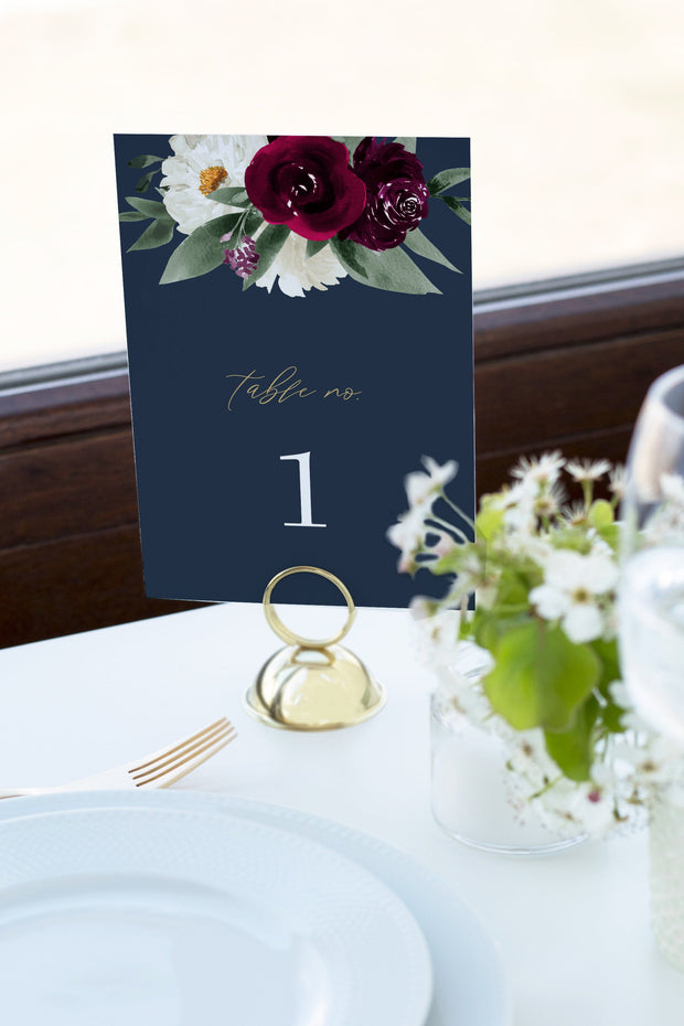 Rosa - Bordeaux Floral Wedding Table Number Template - Unmeasured Events