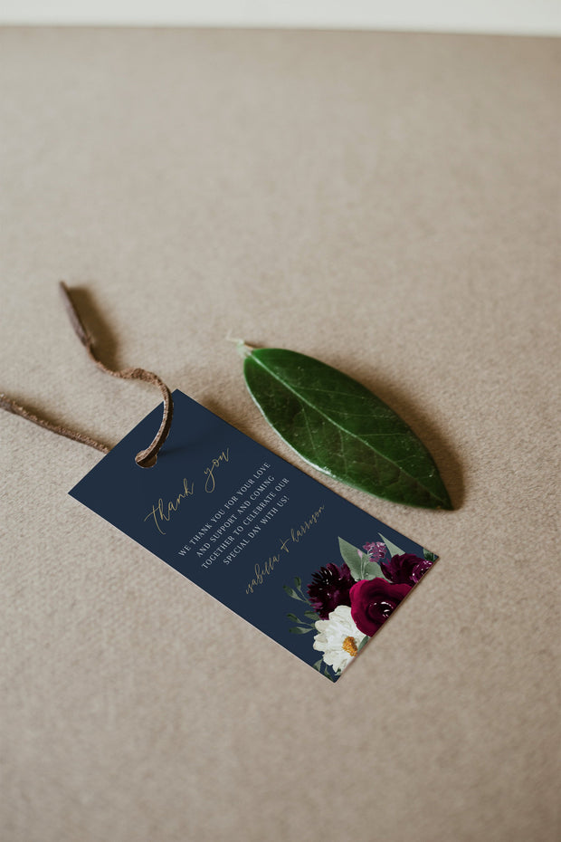Rosa - Bordeaux Floral Wedding Favor Tag Template - Unmeasured Events