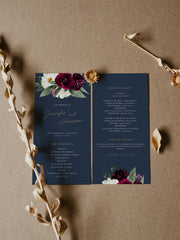 Rosa - Bordeaux Floral Wedding Program Template Suite - Unmeasured Events