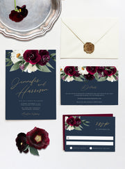 Rosa - Bordeaux Floral Wedding Invitation Template Suite - Unmeasured Events