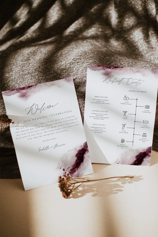 Scarlett - Abstract Burgundy Watercolor Wedding Welcome Letter and Timeline Template - Unmeasured Events