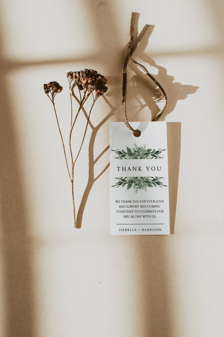 Lana - Modern Greenery Gift Tag Template - Unmeasured Events