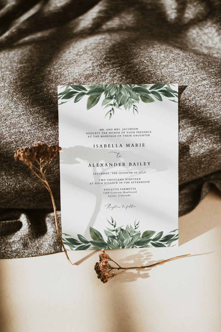 Lana - Traditional Wording Modern Greenery Wedding Invitation Template - Unmeasured Events