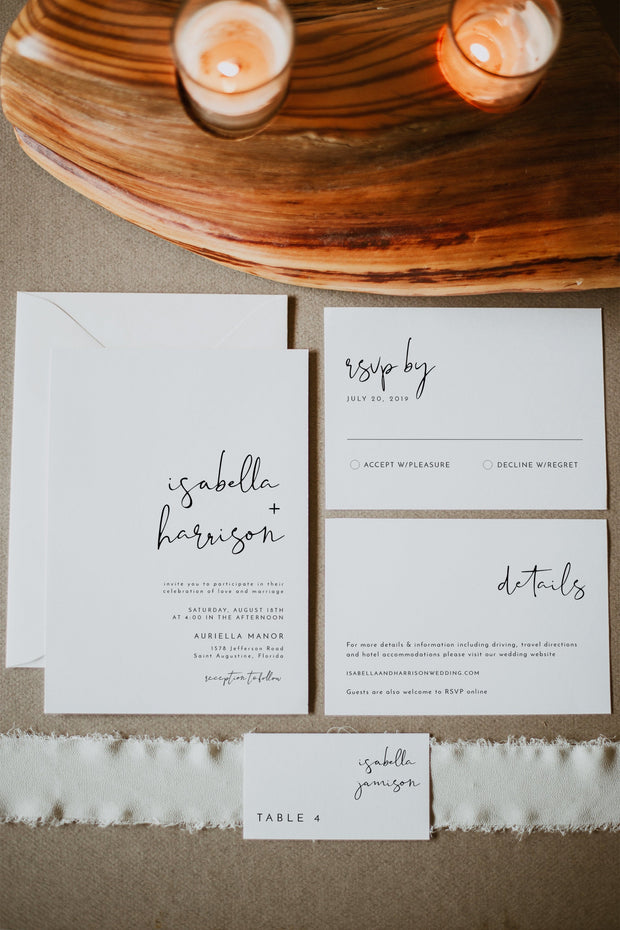Adella - Modern Minimalist Wedding Invitation Template Suite