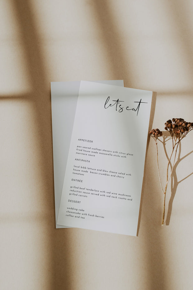 Adella - Modern Minimalist Wedding Menu Template - Unmeasured Events