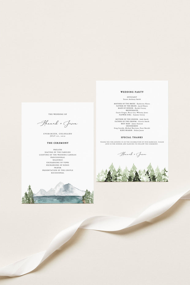 Clover - Mountain Lake Wedding Program Template - Unmeasured Events