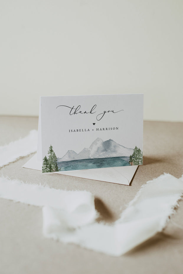 Clover - Mountain Lake Thank You Card Template - Unmeasured Events