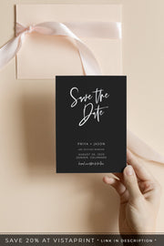 Priya - Black Contemporary Wedding  Save the Date Template - Unmeasured Events