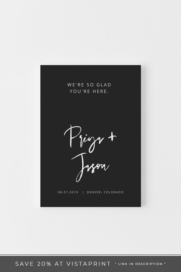 Priya - Black Contemporary Wedding Welcome Sign Template - Unmeasured Events