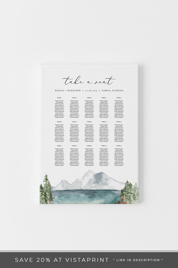 Clover - Mountain Lake Wedding Table Seating Chart Template