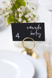 Priya - Black Contemporary Wedding Place Card Template - Unmeasured Events