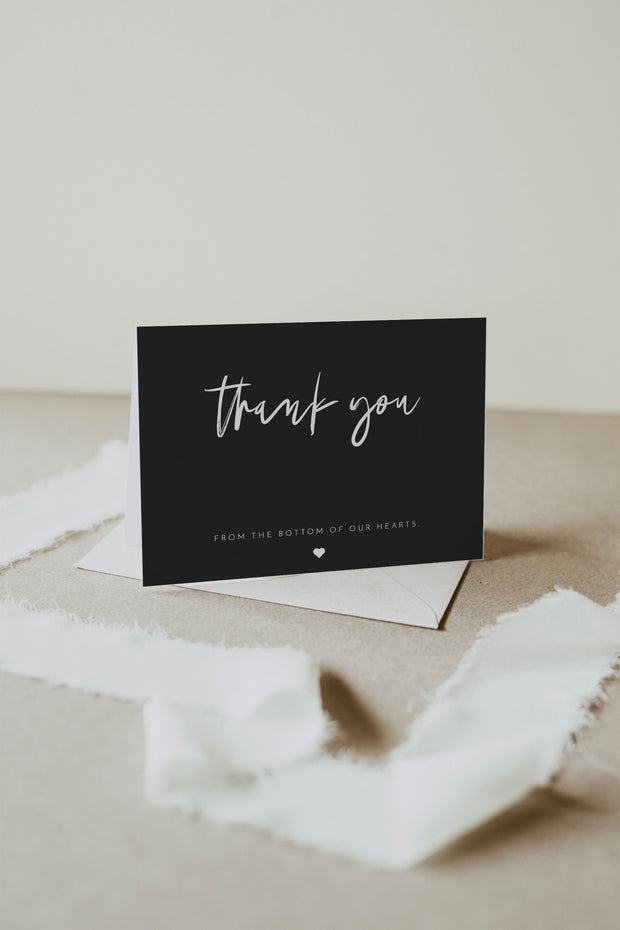 Priya - Black Contemporary Thank You Card Template - Unmeasured Events