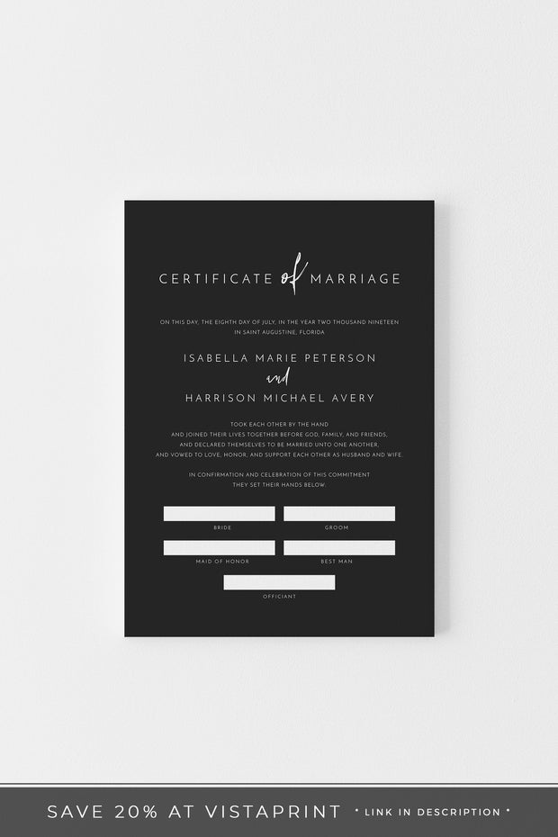 Priya - Black Contemporary Marriage Certificate Template