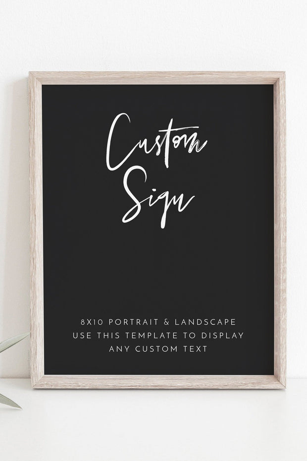 "Priya - Black Contemporary Custom 8x10"" Sign Template"