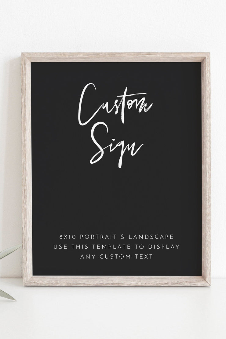 "Priya - Black Contemporary Custom 8x10"" Sign Template - Unmeasured Events"
