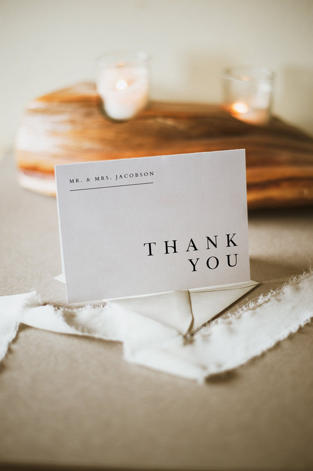 Harper - Minimalist Clean Wedding Thank You Card Template - Unmeasured Events