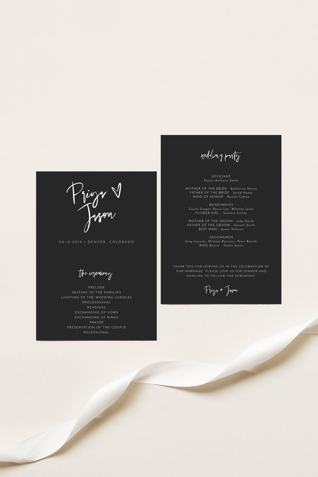 Priya - Black Contemporary Wedding Program Template - Unmeasured Events