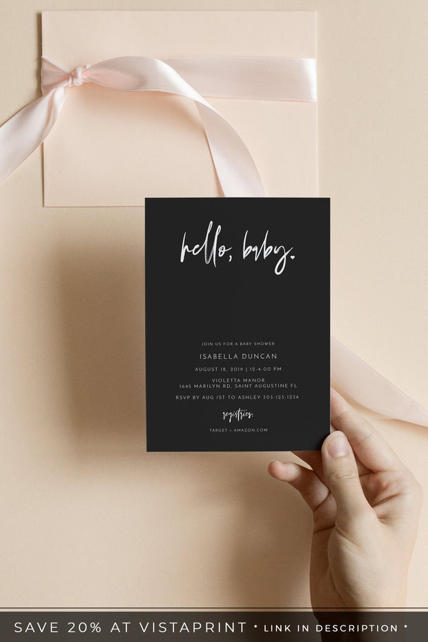 Priya - Black Contemporary Baby Shower Invitation Template - Unmeasured Events