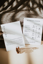 Harper - Minimalist Clean Wedding Welcome Letter and Timeline Template - Unmeasured Events
