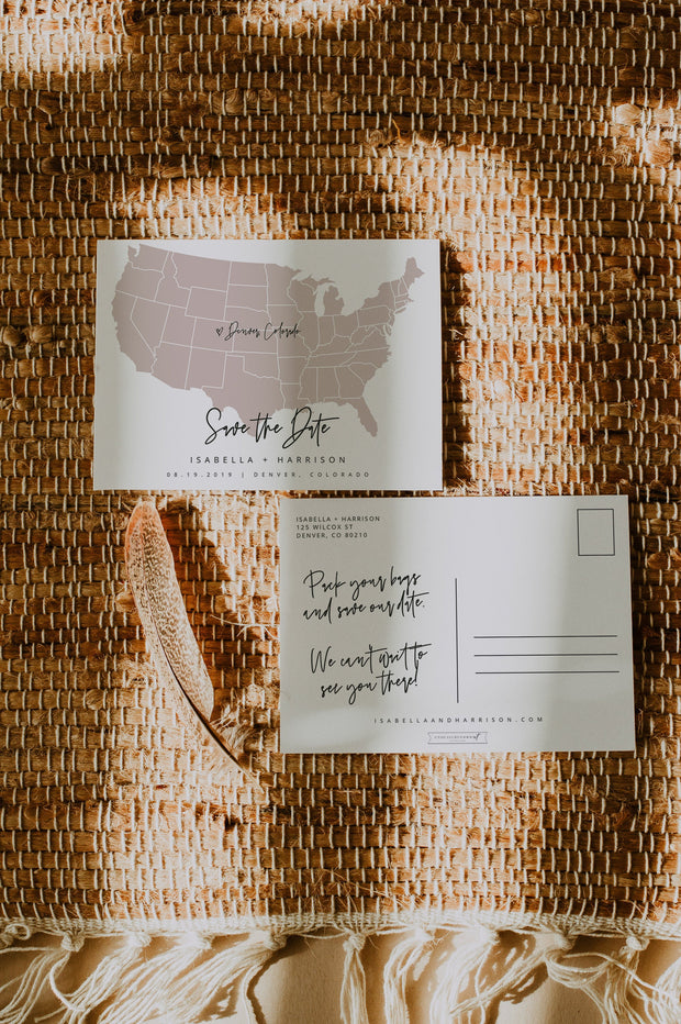 Quinn - Rose Gold United States Map Postcard Save the Date Template - Unmeasured Events