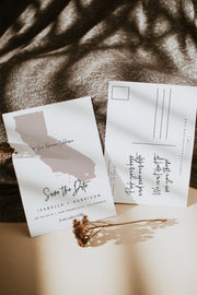 Quinn - Rose Gold California Map Postcard Save the Date Template - Unmeasured Events