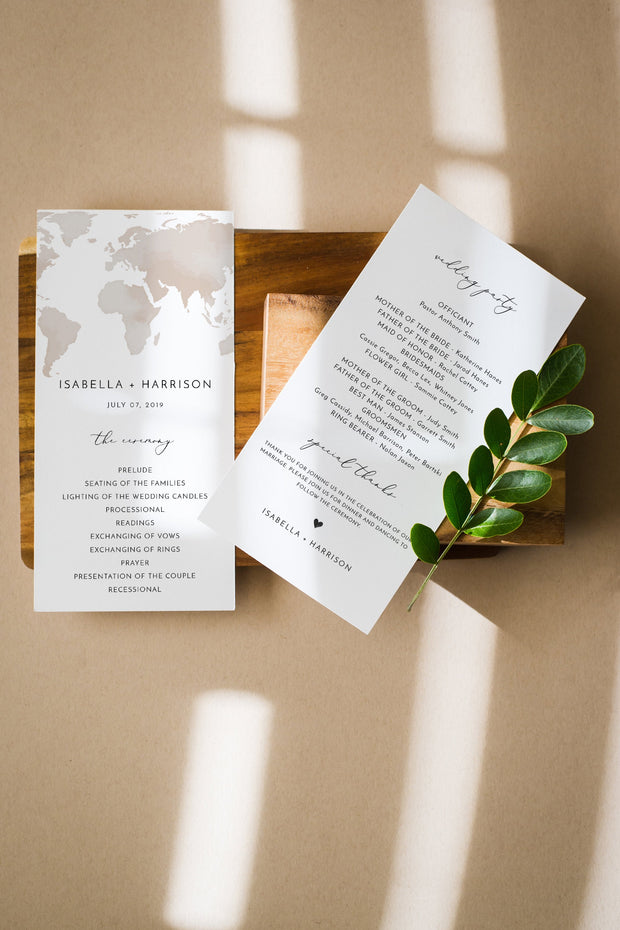 Carmen - Watercolor Map Destination Wedding Program Template - Unmeasured Events