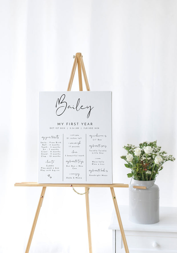 Adella -  Modern Minimalist Baby Milestone Board Template - Unmeasured Events