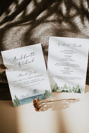 Clover - Mountain Lake Bachelorette Invitation & Itinerary Template - Unmeasured Events