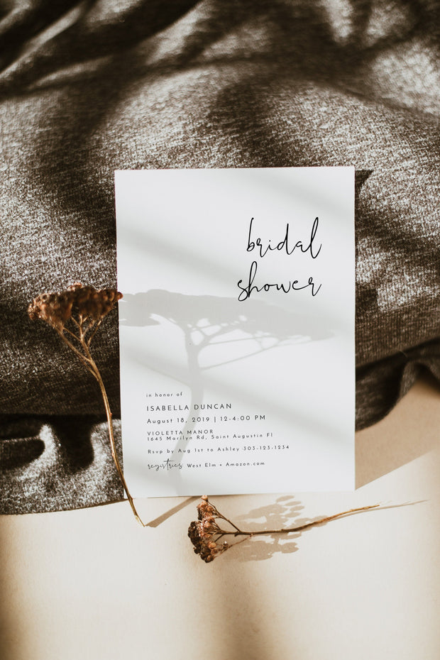 Adella - Modern Minimalist Bridal Shower Invitation Template - Unmeasured Events