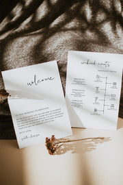 Adella - Modern Minimalist Wedding Timeline & Welcome Letter Template - Unmeasured Events