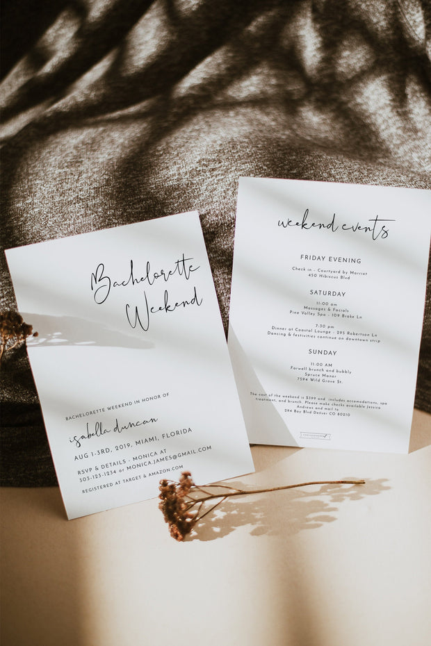 Adella - Modern Minimalist Bachelorette Invitation & Itinerary Template - Unmeasured Events